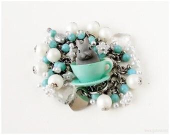 Gray Bunny Bracelet, White, Teal, Cluster Pearl, Sweet Lolita, Kawaii Jewelry