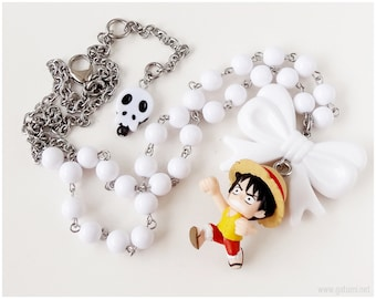 Anime Figure Necklace, White Necklace, Beaded Necklace, Stainless Steel, Kawaii Jewelry, Anime Jewelry