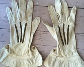 Antique Kid Leather Embroidered Gloves 1920s