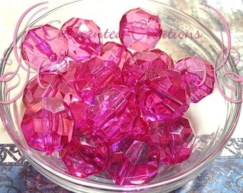 20mm Transparent Fuchsia Faceted Acylic Beads Qty 10