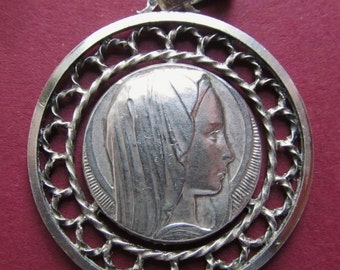 Vintage French Silver Virgin Mary Religious Medal Catholic Pendant  SS127