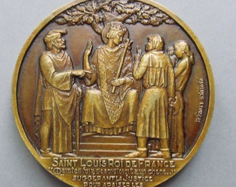 Saint Louis King Of France Art Deco French Religious Art Medal Antique Bronze Signed Georges Crouzat