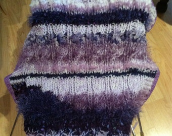 Soft Lilac And Lavender Cable Knit Baby Afghan-Abstract and Textured