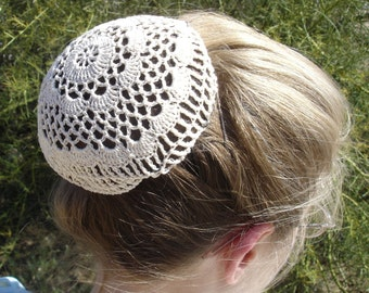 Hair Net / Bun Cover Sz Large Natural Crocheted Flower Style Amish Mennonite