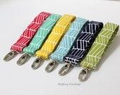 Key Chain / Key Fob - Swivel Clasp Key Wristlet - Choose Your Herringbone Fabric