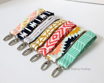 Key Chain / Key Fob - Swivel Clasp Key Wristlet - Choose Your Fabric - Aztec -  Arrows - Sale