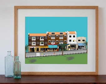 Retro Style Art Print of Bronte Beach Art Deco Flats and Shops