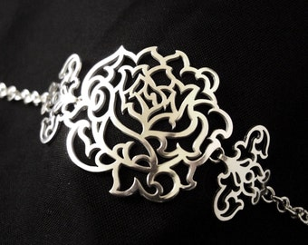 Sterling Silver Articulated Statement Bracelet - Floral Acanthus Rose - IN BLOOM