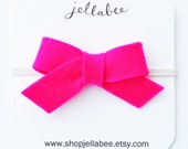 Little Wool Felt Tied Bow Headband / Bright Pink