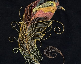 BIRDS OF A FEATHER #8 -Machine Embroidered Quilt Block AzEB