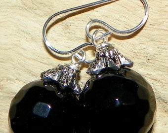Big and Bold Black Onyx Sterling Silver Earrings