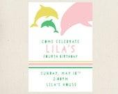 Dolphin Birthday Party Invitation