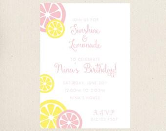 Sunshine and Lemonade Birthday Invitation