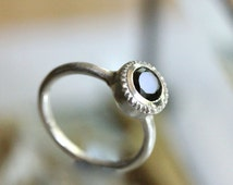 Black Spinel Sterling Silver Ring, Gemstone RIng, No Nickel, Eco Friendly, Engagement Ring, Milgrain Inspire - Made To Order