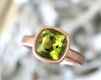 Peridot 14K Gold Engagement Ring, Gemstone Ring, Cushion Shape Gemstone Ring, Gold Ring, Eco Friendly - Made to Order