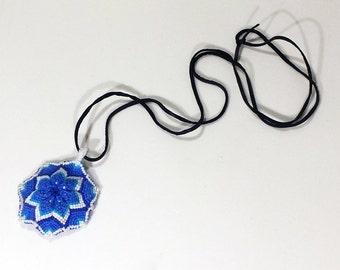 Macrame Mandala Pendant - Shades of Blue