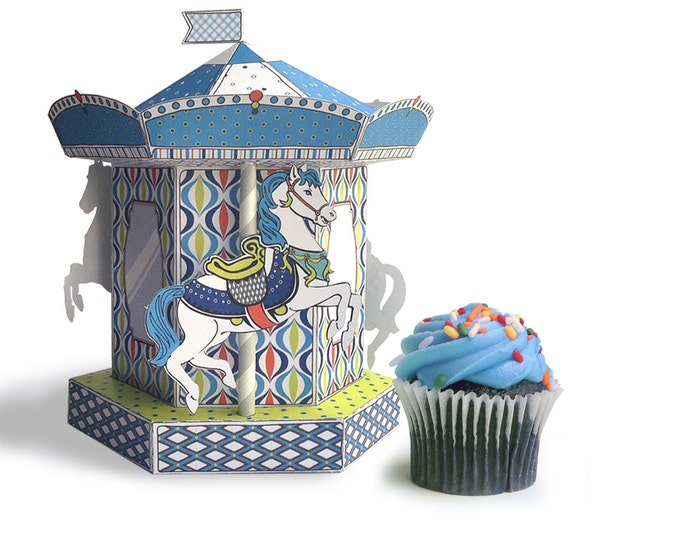 Carousel Merry Go Round Box - cupcake box, gift box, party favor or party decoration - Blue - Instant download Printable PDF Kit