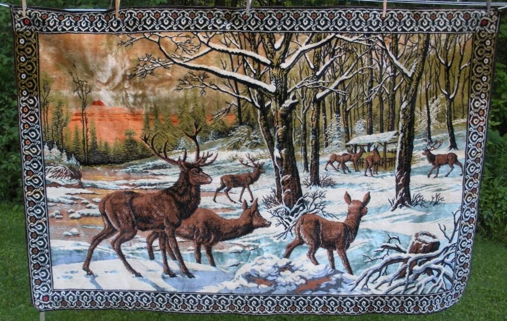 Vintage Italy Deer Scene Velvet Tapestry Wall Hanging Rug