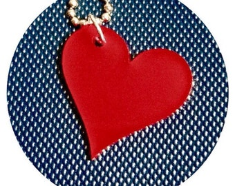 Valentines Day Red Heart Necklace, Love Jewelry, Heart Shape, Lasercut Necklace