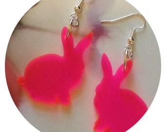 Neon Earrings, Bunny Rabbit Earrings in Neon Pink, See Thru Fluorescent Acrylic Jewelry, Animal Jewelry