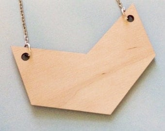 Very Large Chevron Necklace, Statement Jewelry in Lasercut Wood, Geometric Necklace