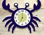 crab clock, crab nursery decor, nautical nursery, navy crab clock, wooden crab, children's clocks, nautical clock, crab room decor
