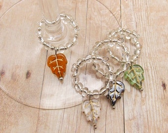 Wine Glass Charms - Leaves 4-Piece Set - Autumn - Fall - Green, Brown, Clear, Gunmetal