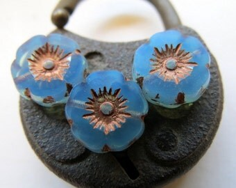 BACK In STOCK Metallic Blue Blooms . Czech Pressed Glass Beads . 12 mm (6 beads)