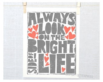Always Look on the Bright Side of Life, Get Well Gift, Happy Art, Nursery Art Print, Kitchen Art, Laundry Room Art, Wall Decor, Nursery Art