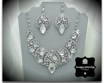 Rhinestone Statement Bridal Bib Necklace and Earrings