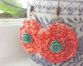Coral Rose Mandala Earrings