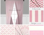 Pink Curtain Panels Modern Chevron Damask Stripe Drapery Window Treatments Set Pair Baby Nursery Pink Home Decor