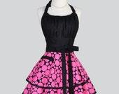 Flirty Chic Apron - Hot Pink and Black Polka Dot Sexy Rockabilly Retro Womens Apron Cute Flirty Chic Apron