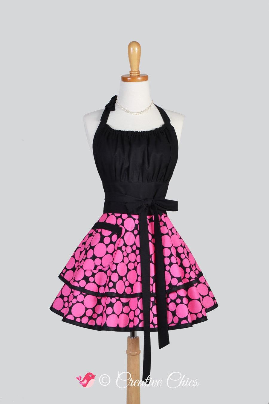 Flirty Chic Apron Hot Pink And Black Polka Dot Sexy