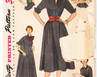 Vintage 1952 Simplicity 4007 Sewing Pattern Misses's One-Piece Basic Dress Size 12 Bust 30