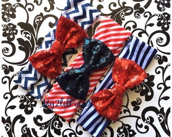 Forth Of July Headband, red white Blue Headband, turban, headband, baby girl Headband, sparkling bow , Chevron Headband, newborn headband