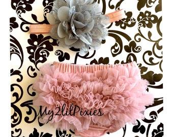 Baby Girl Vintage Pink set, baby headband, Bloomers. Newborn bloomers. Ruffle diaper cover, Baby Girl Bloomers, Newborn Photo Prop, set