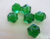 Vintage Emerald Green Glass Buttons 12mm