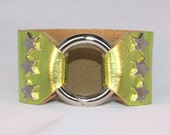 Silver Star Studded Ring Clasp Cuff  on Lime Green Metallic Leather support your favorite team by Rockin its Colors