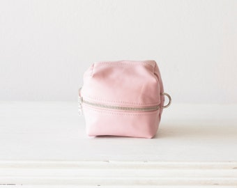 Pink accessory bag, makeup bag vanity storage case cosmetic case utility bag diaper zipper pouch cosmetic  - Cube