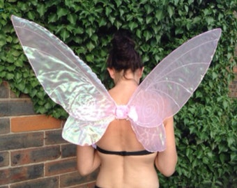 Large Pink Tinkerbell Wings With Added Glitter And Swirls