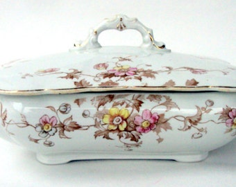 Antique Henry Alcock & Co. Covered Vegetable Server,Cobridge England,Semi-Porcelain,Floral Design, cr.1880s,Serving Dining,Pink Yellow Green