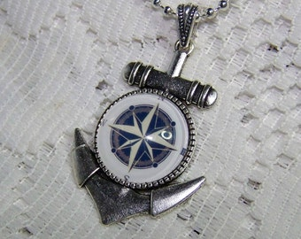Anchor and Compass Rose Art Pendant, Silver plated Anchor, Nautical, Silver Anchor with dome, Navigation, Traveler, Compass, Blue & White
