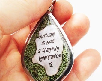 Autism Is Not A Tragedy, Ignorance Is, Golden Jigsaw Puzzle Piece Locket, Autism Awareness, Moss Terrarium Pendant Jewelry LK25