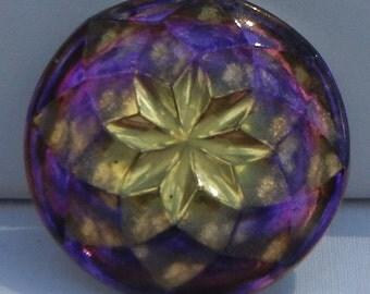 Faceted Eight Point Star Czech Glass Button