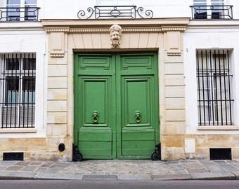 Paris Print, Paris Doors Decor, Green Door, Paris Apartment Photography, French Home Decor Print, Living Room Decor, Parisian Streets