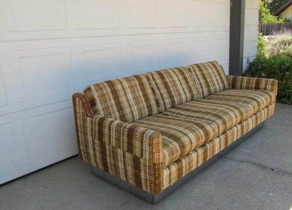 Vintage Chrome Base Sofa 1970s Couch Earth Tones Striped