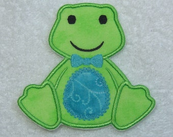 Frog Fabric Embroidered Iron On or Sew On Applique Patch Ready to Ship