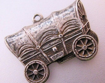 Antique Vintage Covered Wagon Silver Charm Jewelry Jewellery