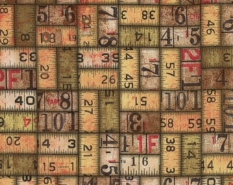Tim Holtz Neutral Measurements fabric yardage, ruler fabric, grunge fabric, eclectic elements